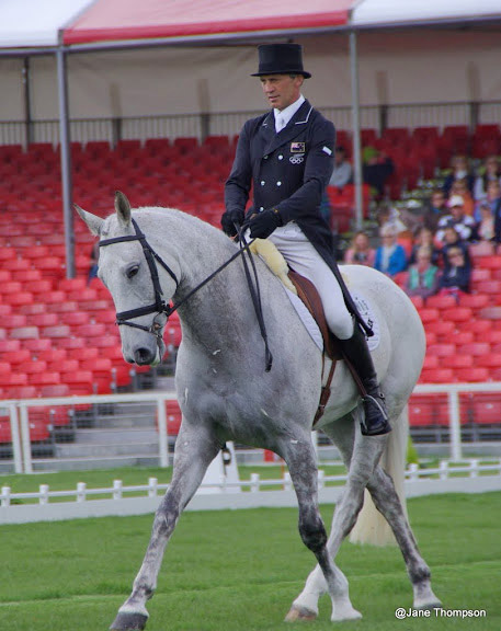 Andrew Nicholson and Avebury, who are in third place after the first day of dressage at Badminton.
