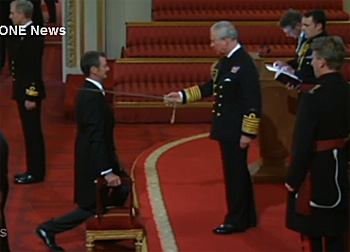 Mark Todd at the investiture ceremony with Prince Charles.
