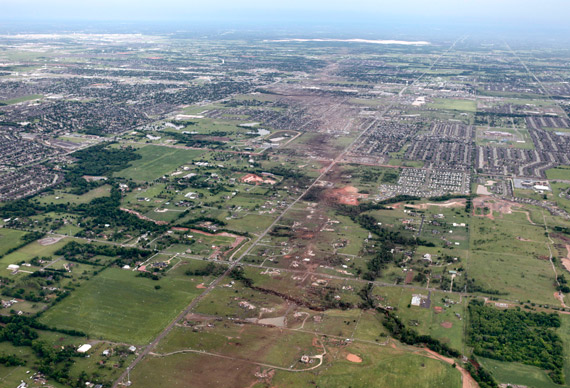 Aerial photo taken on May 22, 2013 of the remaining structures of the Orr Family Farm and Celestial Acres.