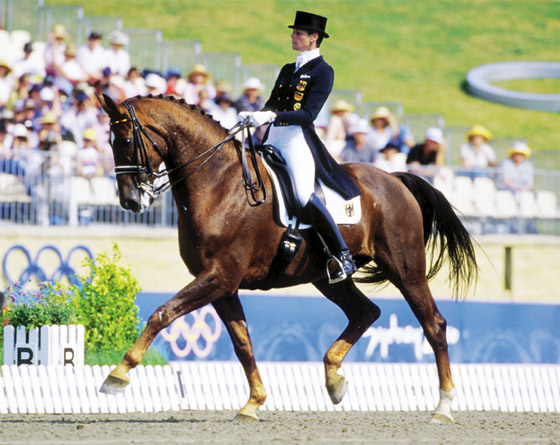 Ulla Salzgeber and Rusty at the Sydney 2000 Olympic Games, where they won team gold and individual bronze.