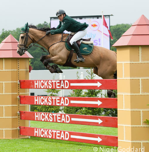 Abdullah Sharbatly and Chesterfield on their way to winning the Bunn Leisure Derby Tankard, at the British Jumping Derby Meeting at  Hickstead on Thursday.