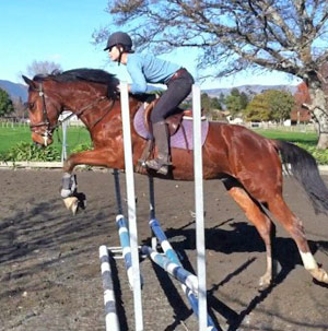 Chloe Akers was riding three-year-old Kenny when he slipped and she was dislodged.
