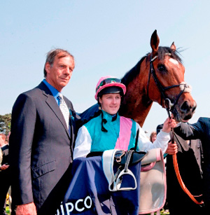 Sir Henry Cecil with Tom Queally and Frankel.