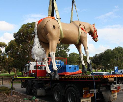 Australia's rescue mannequin Riley during winch training.