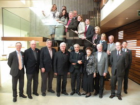 The Bromont bid team, led by committee president Paul Côté (fourth from left), at FEI Headquarters in February for their presentation to the FEI Evaluation Commission for their WEG 2018 bid. The Evaluation Commission is led by FEI Secretary General Ingmar De Voss (fourth from right).