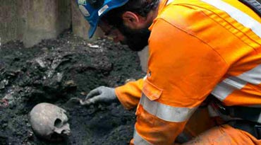 An archaeological works on human remains found at Broadgate ticket hall.