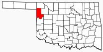 Location of Ellis County in Oklahoma.