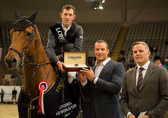Great Britain's Scott Brash and Hello Sanctos at the prize presentation with Longines ambassador Aksel Lund Svindal and Morten Thormodsen, Brand Manager and Sales Representative for Longines, Norway.