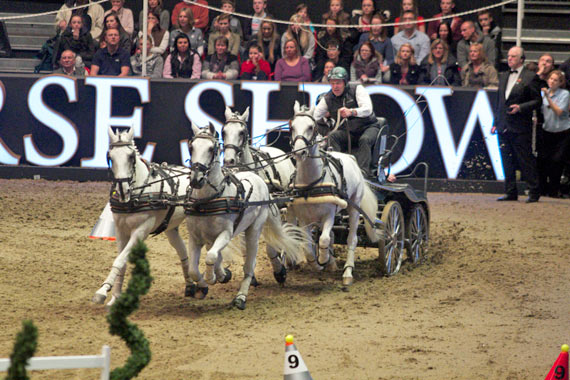 IJsbrand Chardon was in flying form in the electrifying atmosphere of Olympia to win the seventh leg of the FEI World Cup Driving season.