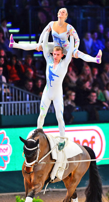 Germany's Pia Engelberty and Torben Jacobs on Danny Boy, lunged by former world champion Patric Looser, notched up their second victory in this year's FEI World Cup™ Vaulting in Leipzig, winning both rounds and guaranteeing their ticket to the Final in Bordeaux on 7-8 February.