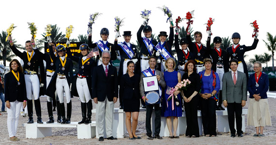 USA gold medal team of Silva Martin, Tina Konyot, Adrienne Lyle and Shawna Harding, with the Canada 1 silver medal team of Belinda Trussel, Chris von Martels, Brittany Fraser and Megan Lane at right, and the Spanish bronze medal team of Carlos Munoz, Juan Matute, Jr., Paula Matute and Maria Renilla.