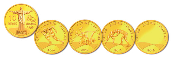 The four gold R$10 coins show classic Olympic sports.