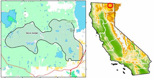 Location of Devil's Garden Wild Horse Territory in California.
