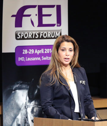 """""""Respect for nature has always been integral to equestrian sport through its connection to horses and the outdoors,"""" FEI President Princess Haya noted during the sustainability session at the Sports Forum."""