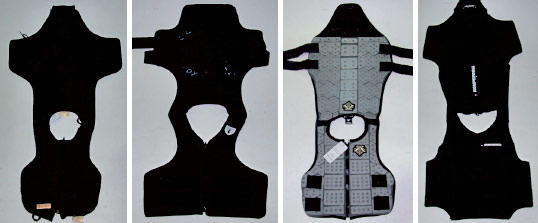 The jockey vest samples, from left, Racesafe, Tipperary, Descente and Komperdell Ballistic (motorcycle back protector/vest).