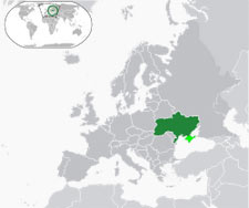 Ukraine's location in Europe (dark green), with disputed territory in light green.