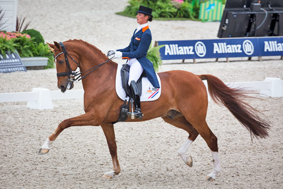Adelinde Cornelissen and Jerich Parzival from the winning Dutch team at the FEI Nations Cup Dressage round at Rotterdam.