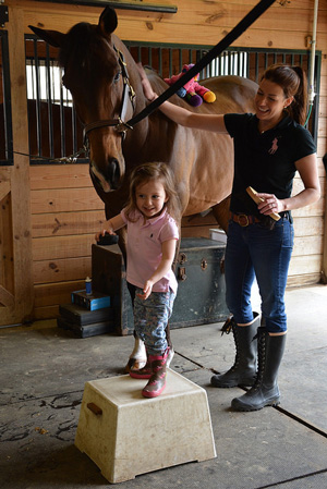 Jane Withstandley and her daughter, Blair, with Calvin at their stable, Peace by Piece Farm in Chester Springs.