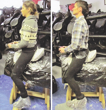 """Although these riders are similar in body shape on the outside, their """"butt casts"""" below clearly show the differences in their pelvic points of reference."""