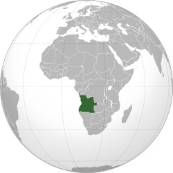 Location of Angola in southern Africa.