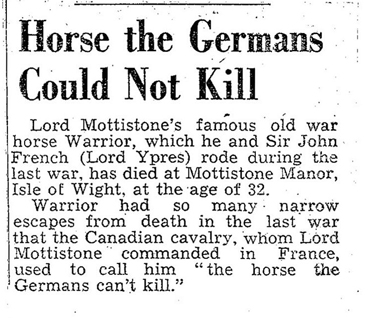 The Evening Standard carried this report on April 4, 1941, on the passing of Warrior.