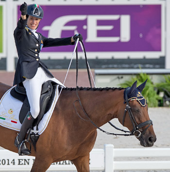 Italy's Sara Morganti with Royal Delight scored a thrilling top spot in Round 1 Grade Ia in the para-equestrian team competition.