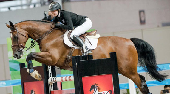 Youth Olympic gold medalist Emily Fraser (New Zealand) and Exilio.