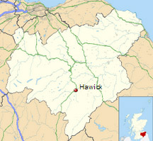 Hawick shown within the Scottish Borders
