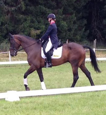 Nicola Wilson warming up One Two Many before the dressage at Blair Castle.