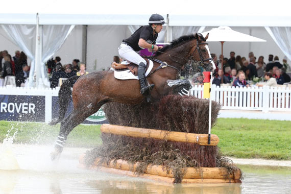 New Zealand's Tim Price and Wesko travelling well before they were pulled up two fences from home.