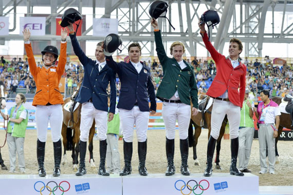 The victorious team from Europe enjoys their time on the podium.