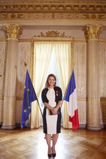Princess Haya was today made an Officer of the National Order of the Legion of Honour, France's highest distinction. The flag of the European Union, of which France is a member state, and the French flag are pictured in the background. Photo FEI/Liz Gregg
