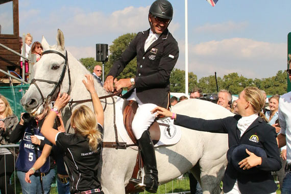 Avebury and Andrew Nicholson were swamped with congratulations after their winning round.