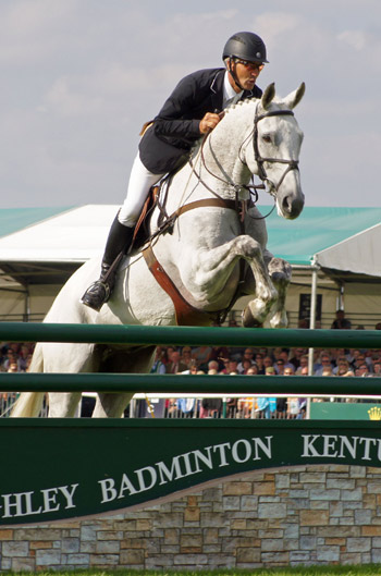 Andrew Nicholson and Avebury on their way to a clear round and the win at Burghley.