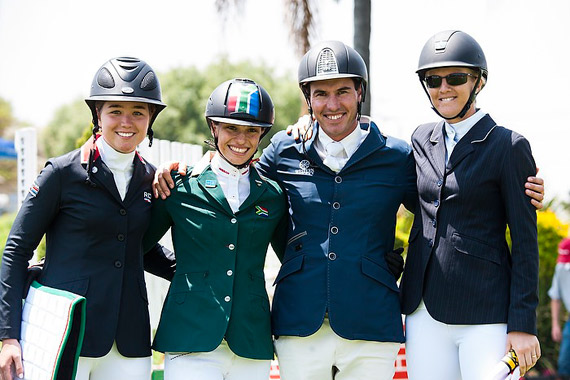 On the podium at the FEI World Jumping Challenge Final 2014 in Kyalami (RSA) left to right: silver medallist Maria Gabriela Brugal (DOM), Alexa Stais (RSA) who finished fourth, Rainer Korber (RSA) who took bronze and gold medallist Charley Crockart (ZIM).