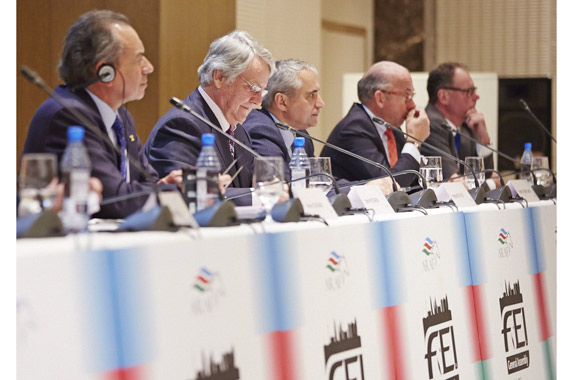 The five candidates standing for election to the FEI Presidency, (l-r) Pierre Durand (FRA), John McEwen (GBR), Ingmar De Vos (BEL), Pierre Genecand (SUI) and Ulf Helgstrand (DEN), today presented their manifestos at the Meet the Presidential Candidates session in Baku (AZE) before tomorrow's election at the FEI General Assembly.