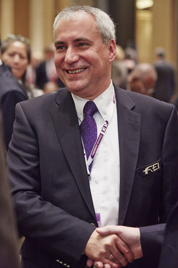 Ingmar De Vos was surrounded by well-wishers after his landslide victory in the election for the FEI Presidency in Baku (AZE) today.