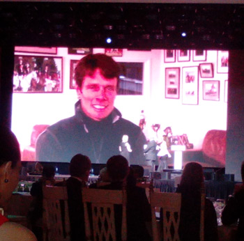 Jackie Potts receives the Best Groom award as a video message from her employer, British eventer William Fox-Pitt is played.