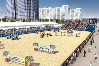 An artist's impression of next month's Global Champions Tour arena on Miami Beach.