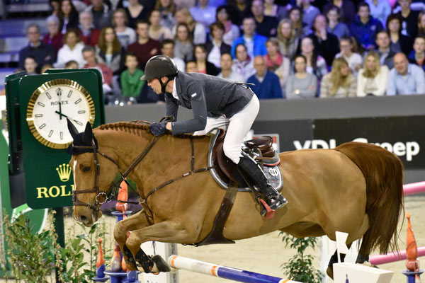 Rolex Testimonee Kevin Staut riding Qurack de Falaise in the Rolex Grand Prix.