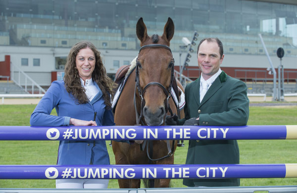 Chantal Kiely and Paul Beecher with Loughnatousa Eric after jumping for the first time at the Greyhound stadium at Curraheen Park in Cork.