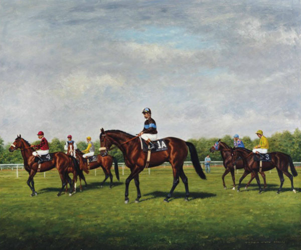 "Richard Stone Reeves' painting, ""Approaching the Start, Arlington, Million, 1981"", carries a pre-auction estimate of $US18,000 to $US25,000. Photo: Christie's"