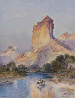 """Cliffs of Green River, Wyoming Territory"", By Thomas Moran."