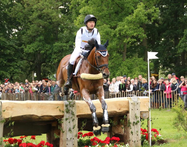 CCI4*: Michael Jung and Sam over the first. The combination later retired on the course.