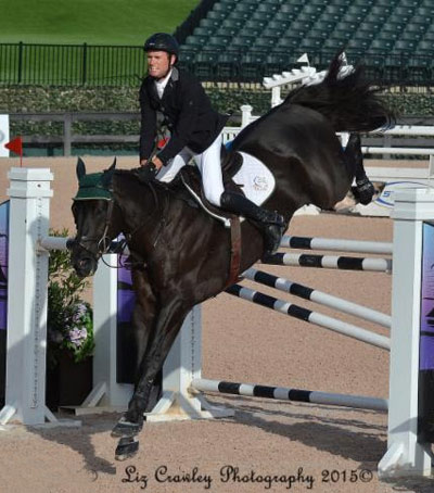 Richie Moloney and Alsvid on the way to winning the $34,000 1.45m Speed Stake FEI at Tryon.