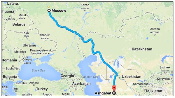 Geldy Kyarizov's route from Ashgabat to Moscow, which he rode in his bid to save the Akhal Teke breed.