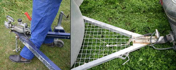 Left: Horses can injure themselves if they step inside the drawbar and catch their leg on the coupling/brake assembly. At right, an elegant solution using steel mesh that removes any chance of a horse catching a leg in the drawbar. Notice also the clamp that allows removal of the jockey wheel.