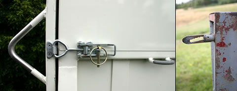 Left: These over-centre latches are used on many modern floats, offering nothing nasty that a horse can catch itself on. At right, these common trailer couplings are often used to secure the rear door of a float. They are most dangerous when welded directly on the back, where you run the risk of a horse catching its throat. They are best attached in a way that they can be swung out of the way when loading or unloading.