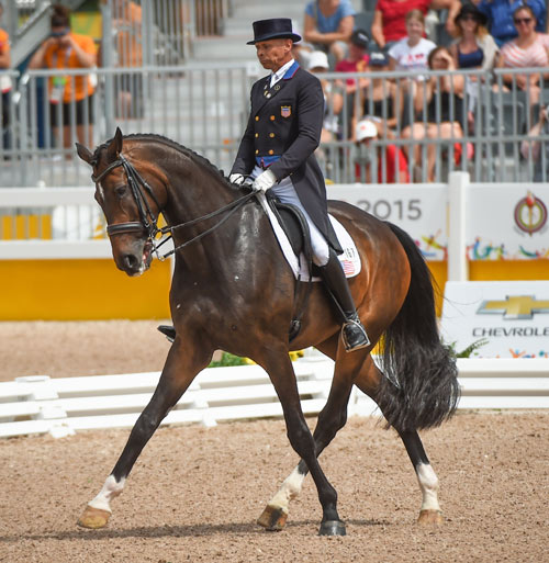 Steffen Peters (USA) and Legolas 92 won individual dressage gold at the Pan American Games in Toronto on Tuesday.