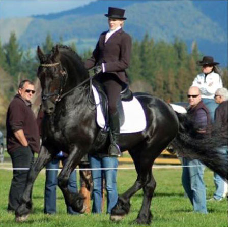 Wabe and Hayley Moore in dressage competition.